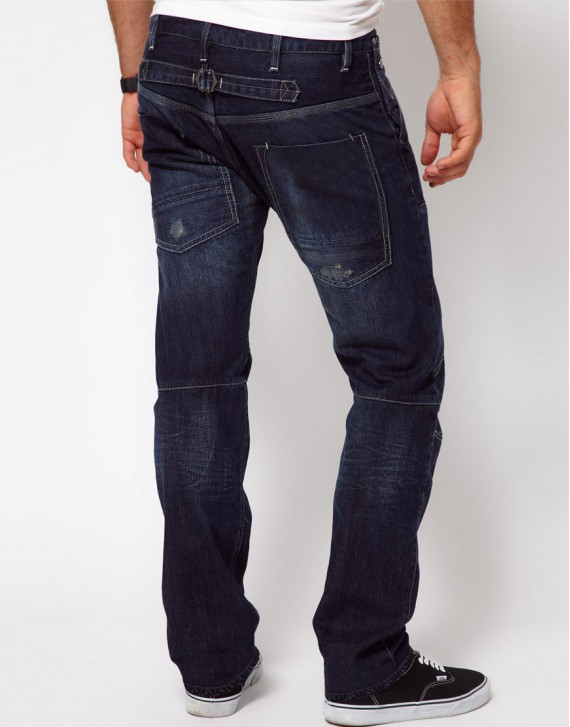 Low Straight Navy Jeans